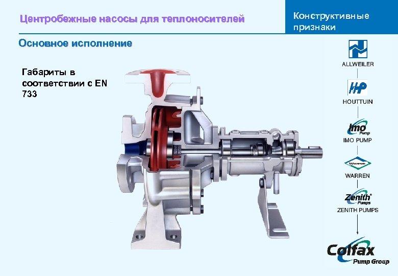 Центробежные насосы для теплоносителей Основное исполнение Габариты в соответствии с EN 733 Конструктивные признаки