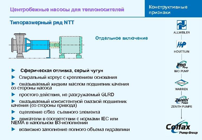 Центробежные насосы для теплоносителей Типоразмерный ряд NTT Отдельное включение u Сферическая отливка, серый чугун