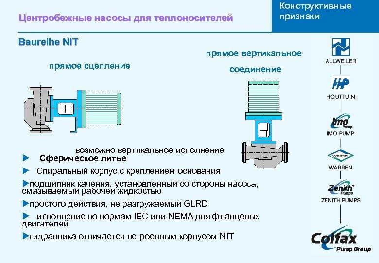Центробежные насосы для теплоносителей Конструктивные признаки Baureihe NIT прямое вертикальное прямое сцепление соединение возможно