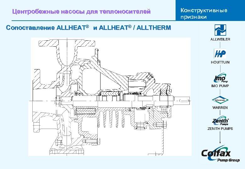 Центробежные насосы для теплоносителей Сопоставление ALLHEAT® и ALLHEAT® / ALLTHERM Конструктивные признаки