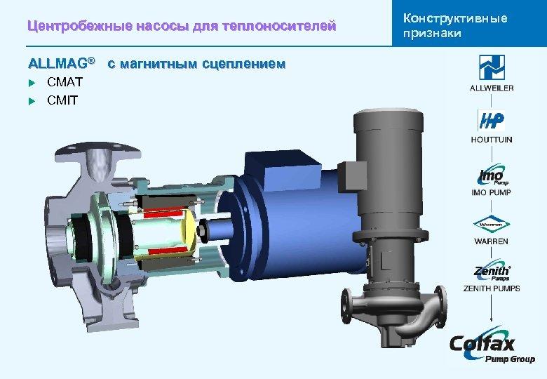 Центробежные насосы для теплоносителей ALLMAG® с магнитным сцеплением u u CMAT CMIT Конструктивные признаки