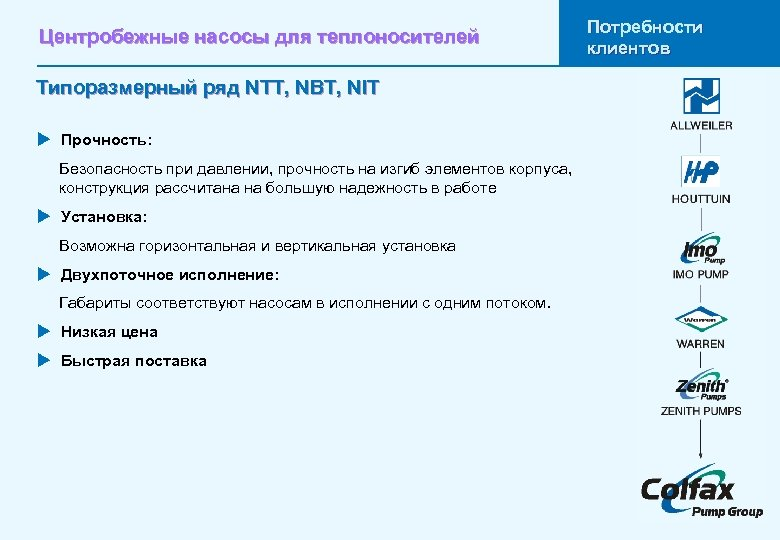 Центробежные насосы для теплоносителей Типоразмерный ряд NTT, NBT, NIT u Прочность: Безопасность при давлении,