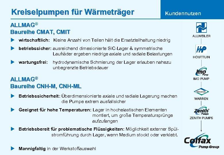 Kreiselpumpen für Wärmeträger Kundennutzen ALLMAG® Baureihe CMAT, CMIT u wirtschaftlich: Kleine Anzahl von Teilen