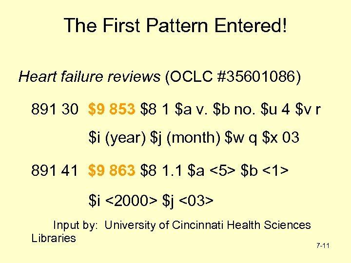 The First Pattern Entered! Heart failure reviews (OCLC #35601086) 891 30 $9 853 $8