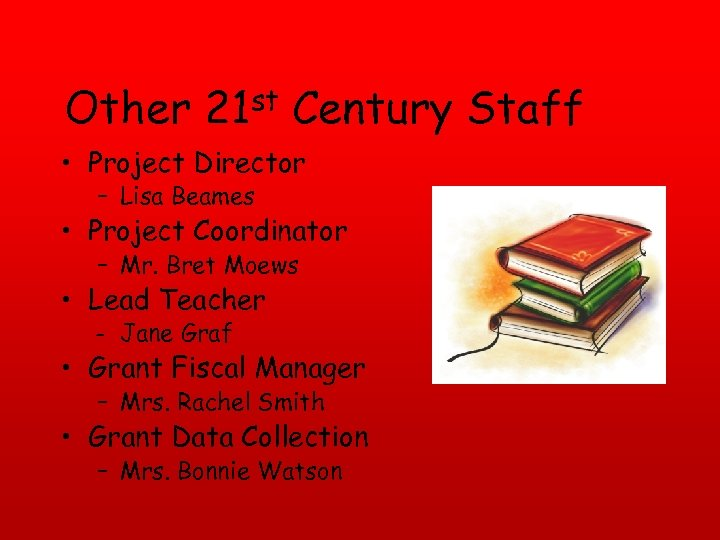 Other 21 st Century Staff • Project Director – Lisa Beames • Project Coordinator