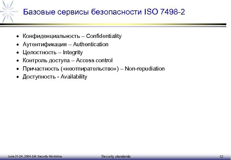 Базовые сервисы безопасности ISO 7498 -2 · · · Конфиденциальность – Confidentiality Аутентификация –