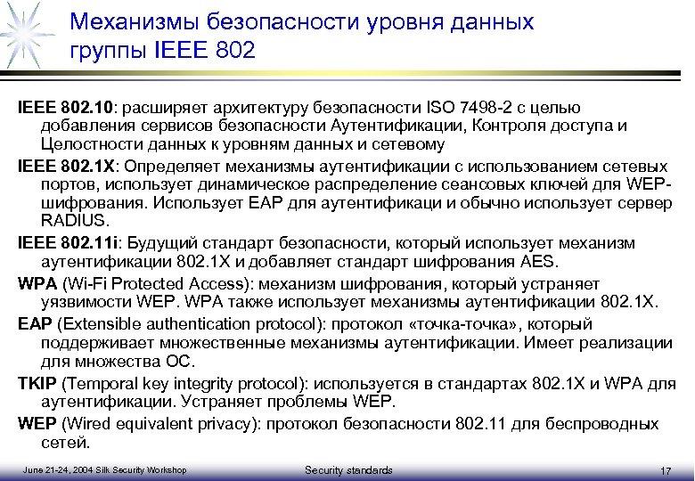 Механизмы безопасности уровня данных группы IEEE 802. 10: расширяет архитектуру безопасности ISO 7498 -2