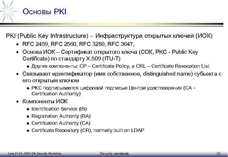 Основы PKI (Public Key Infrastructure) – Инфраструктура открытых ключей (ИОК) · RFC 2459, RFC