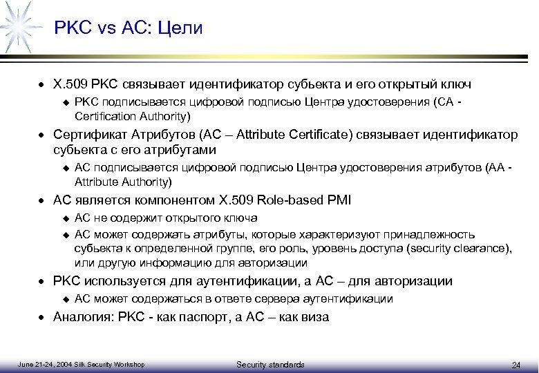 PKC vs AC: Цели · X. 509 PKC связывает идентификатор субьекта и его открытый