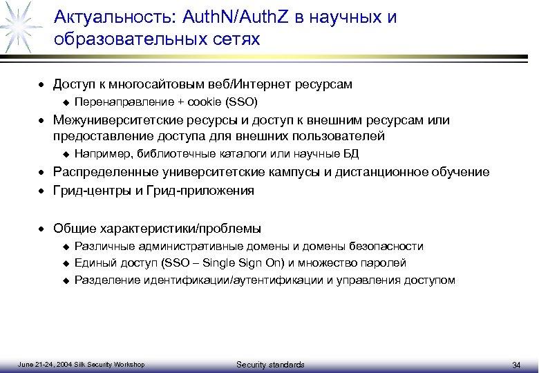 Актуальность: Auth. N/Auth. Z в научных и образовательных сетях · Доступ к многосайтовым веб/Интернет