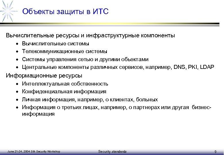 Объекты защиты в ИТС Вычислительные ресурсы и инфраструктурные компоненты · · Вычислительные системы Телекоммуникационные