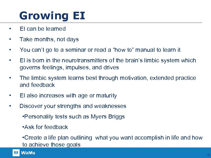 Growing EI • EI can be learned • Take months, not days • You