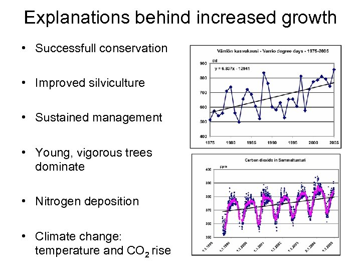 Explanations behind increased growth • Successfull conservation • Improved silviculture • Sustained management •