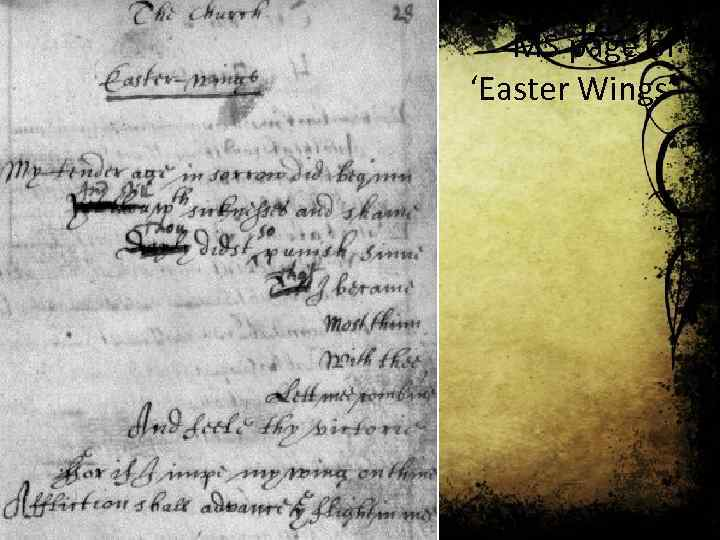 MS page of 'Easter Wings'