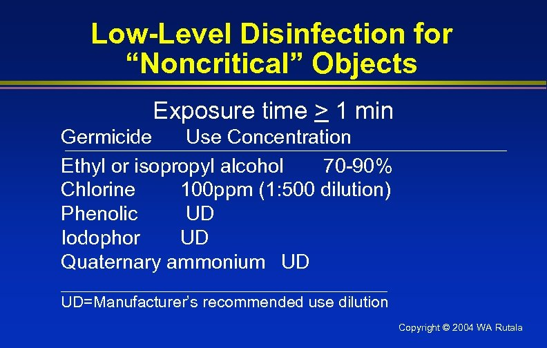 """Low-Level Disinfection for """"Noncritical"""" Objects Exposure time > 1 min Germicide Use Concentration Ethyl"""