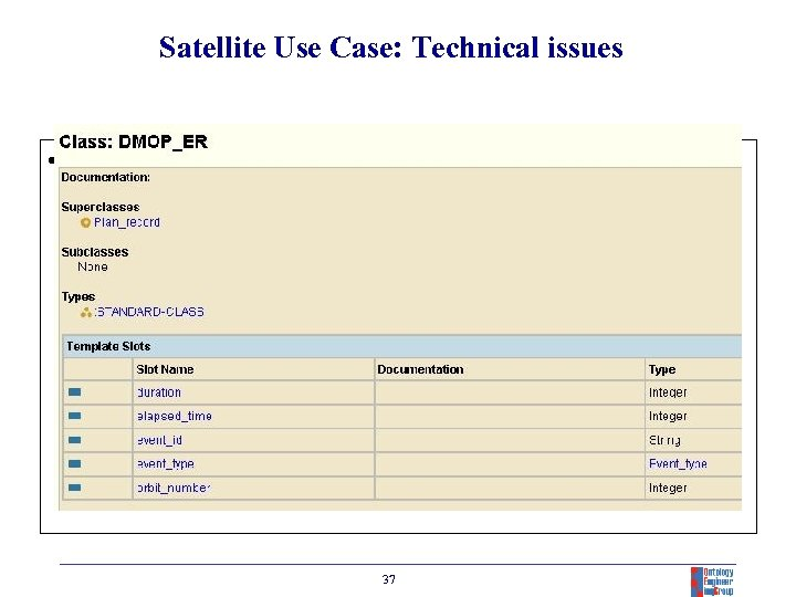 Satellite Use Case: Technical issues • Planning (DMOP) RECORD parameters 37