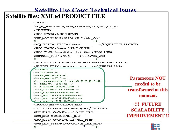 Satellite Use Case: Technical issues Satellite files: XMLed PRODUCT FILE <PRODUCT>