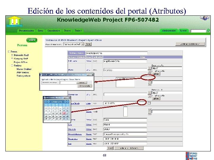 Edición de los contenidos del portal (Atributos) 68