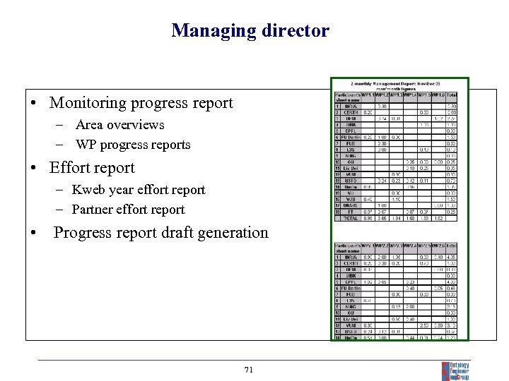 Managing director • Monitoring progress report – Area overviews – WP progress reports •