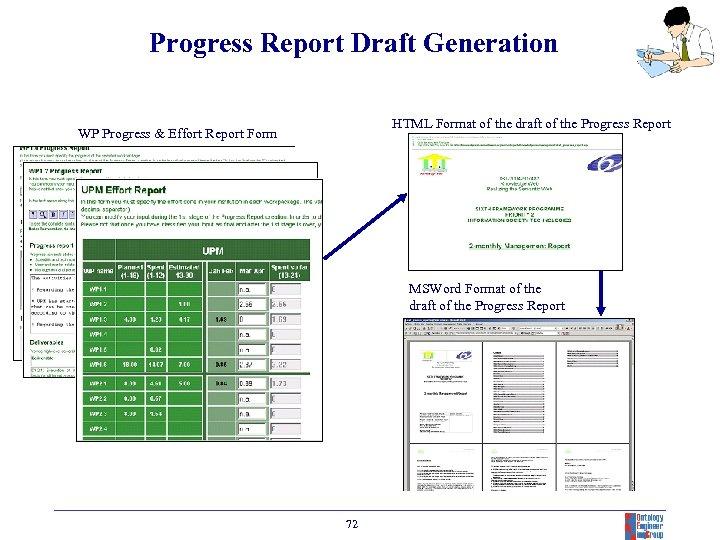 Progress Report Draft Generation HTML Format of the draft of the Progress Report WP