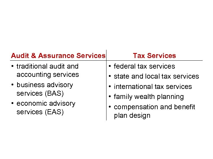 Our service lines Audit & Assurance Services • traditional audit and accounting services •