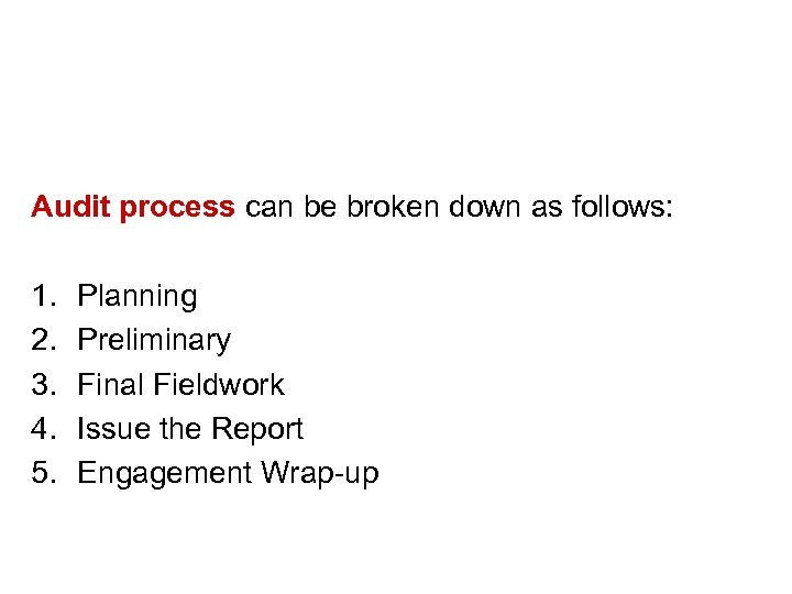 Audit process can be broken down as follows: 1. 2. 3. 4. 5. Planning