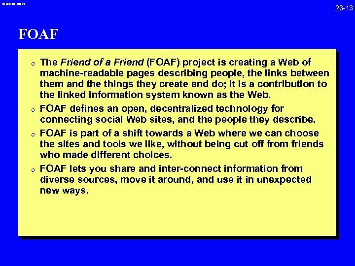 3/19/2018 08: 25 23 -13 FOAF 0 The Friend of a Friend (FOAF) project