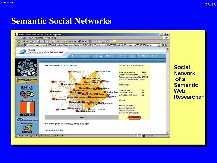 3/19/2018 08: 25 23 -16 Semantic Social Networks Social Network of a Semantic Web