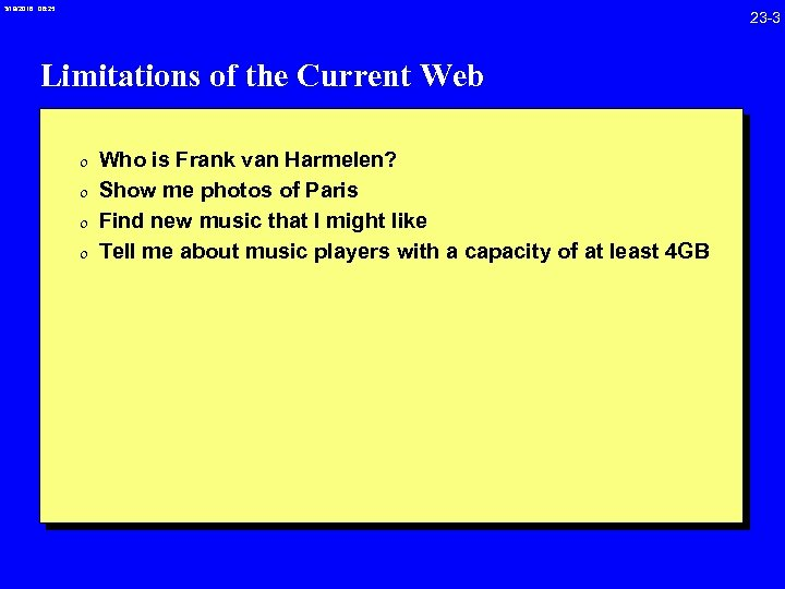3/19/2018 08: 25 23 -3 Limitations of the Current Web 0 Who is Frank