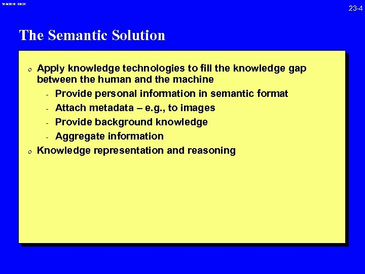 3/19/2018 08: 25 23 -4 The Semantic Solution 0 Apply knowledge technologies to fill