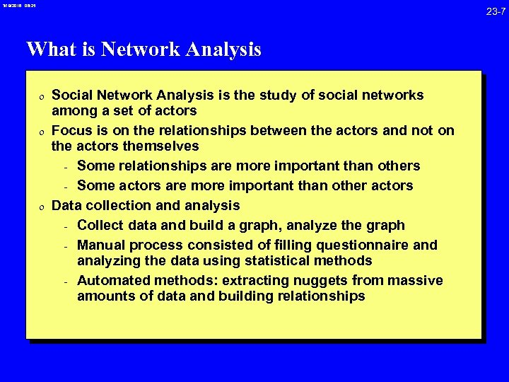 3/19/2018 08: 25 23 -7 What is Network Analysis 0 Social Network Analysis is