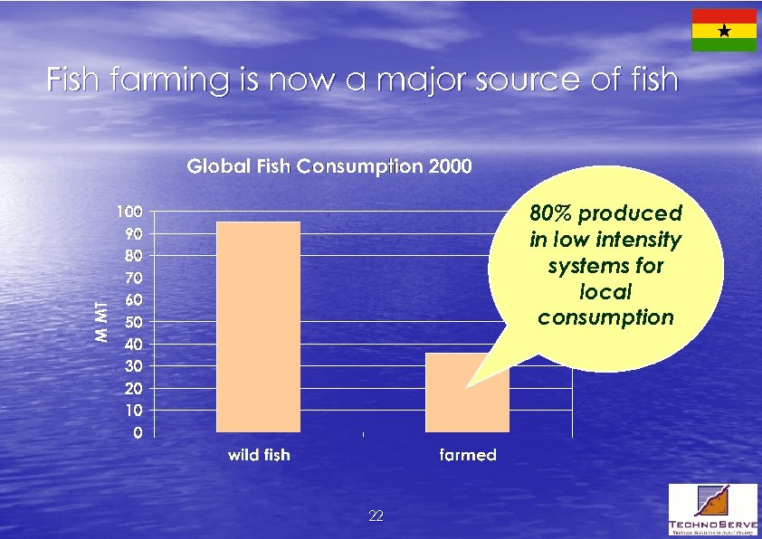 Fish farming is now a major source of fish 80% produced in low intensity