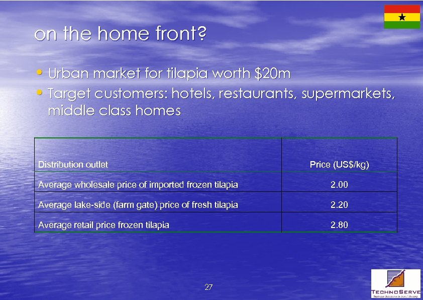 on the home front? • Urban market for tilapia worth $20 m • Target