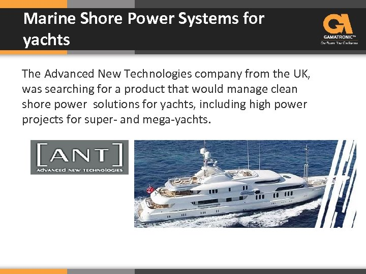 Marine Shore Power Systems for yachts The Advanced New Technologies company from the UK,
