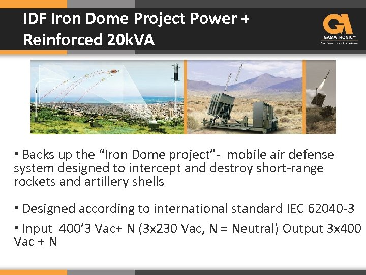 IDF Iron Dome Project Power + Reinforced 20 k. VA • Backs up the