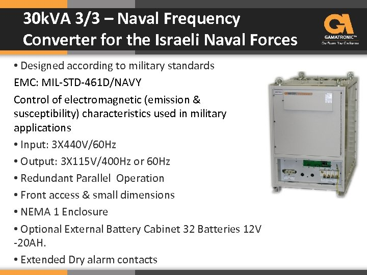 30 k. VA 3/3 – Naval Frequency Converter for the Israeli Naval Forces •