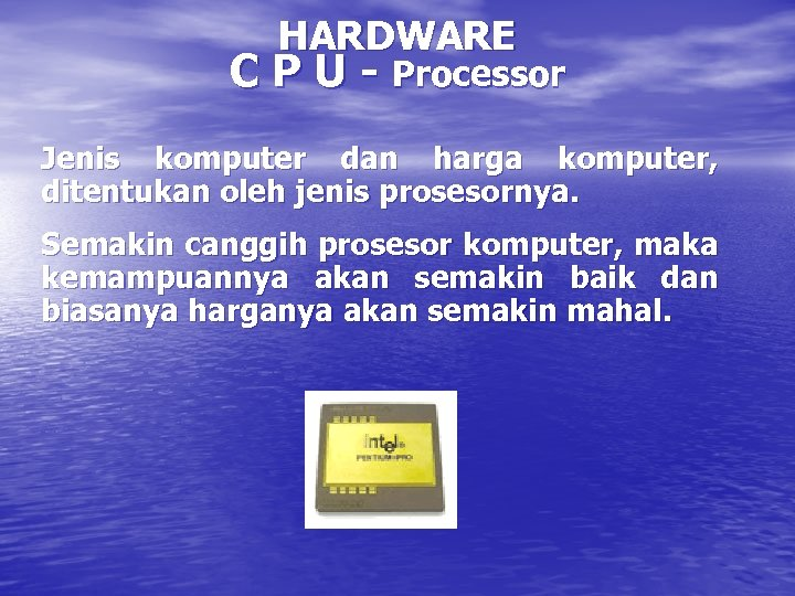 HARDWARE C P U - Processor Jenis komputer dan harga komputer, ditentukan oleh jenis