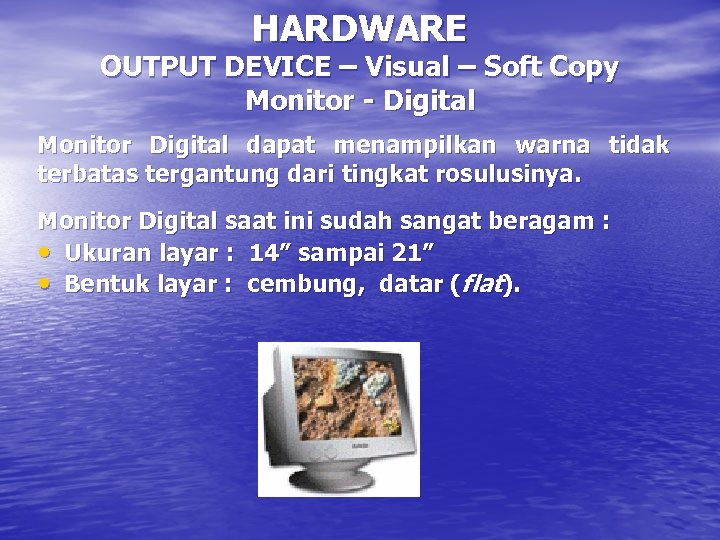 HARDWARE OUTPUT DEVICE – Visual – Soft Copy Monitor - Digital Monitor Digital dapat
