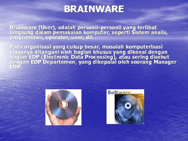 BRAINWARE Brainware (User), adalah personil-personil yang terlibat langsung dalam pemakaian komputer, seperti Sistem analis,