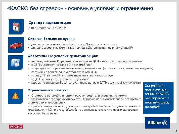 «КАСКО без справок» - основные условия и ограничения Срок проведения акции: с 01.