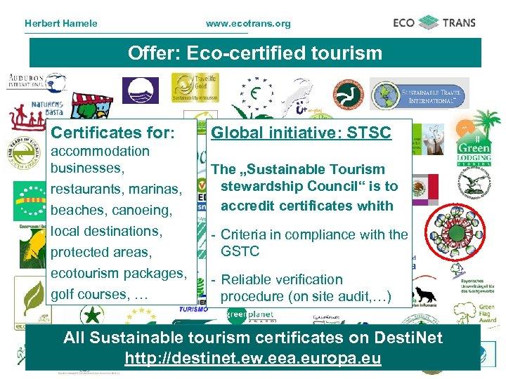 Herbert Hamele www. ecotrans. org Offer: Eco-certified tourism Certificates for: accommodation businesses, restaurants, marinas,