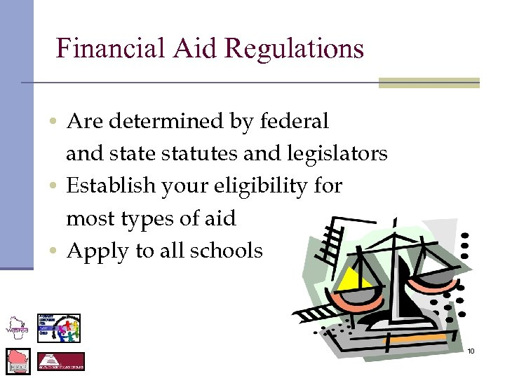 Financial Aid Regulations • Are determined by federal and state statutes and legislators •
