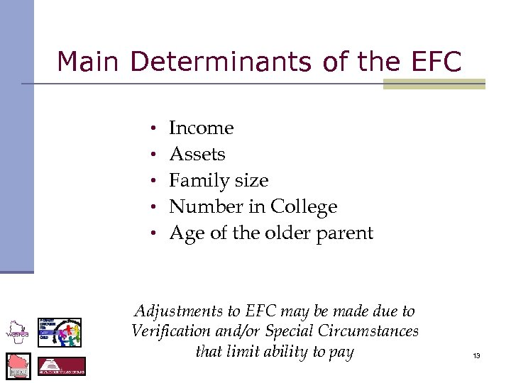 Main Determinants of the EFC • • • Income Assets Family size Number in