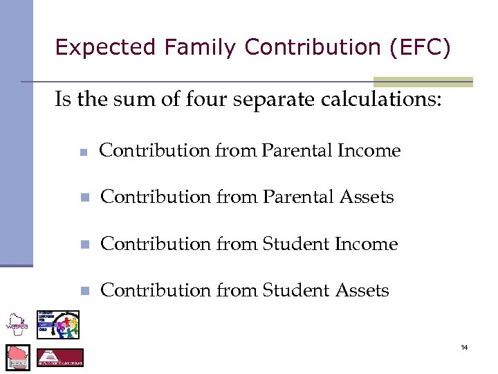 Expected Family Contribution (EFC) Is the sum of four separate calculations: n Contribution from