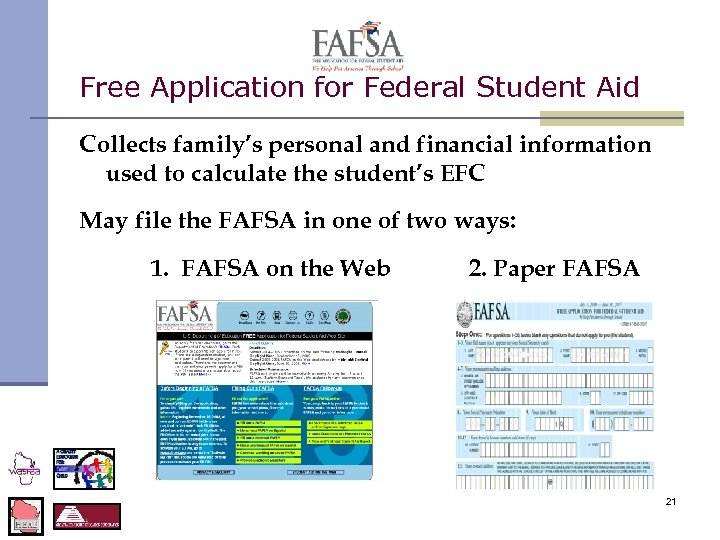 Free Application for Federal Student Aid Collects family's personal and financial information used to