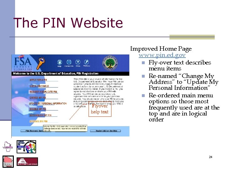 The PIN Website Flyover help text Improved Home Page www. pin. ed. gov n