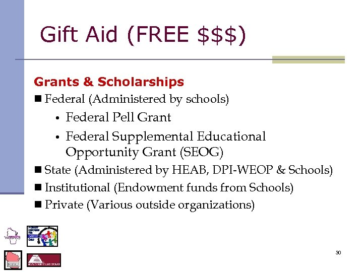 Gift Aid (FREE $$$) Grants & Scholarships n Federal (Administered by schools) • •