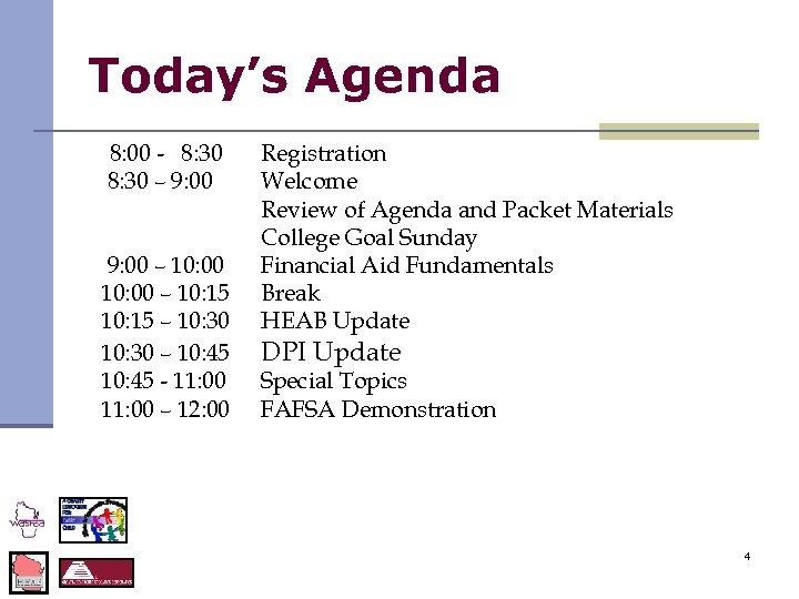 Today's Agenda 8: 00 - 8: 30 – 9: 00 – 10: 15 –