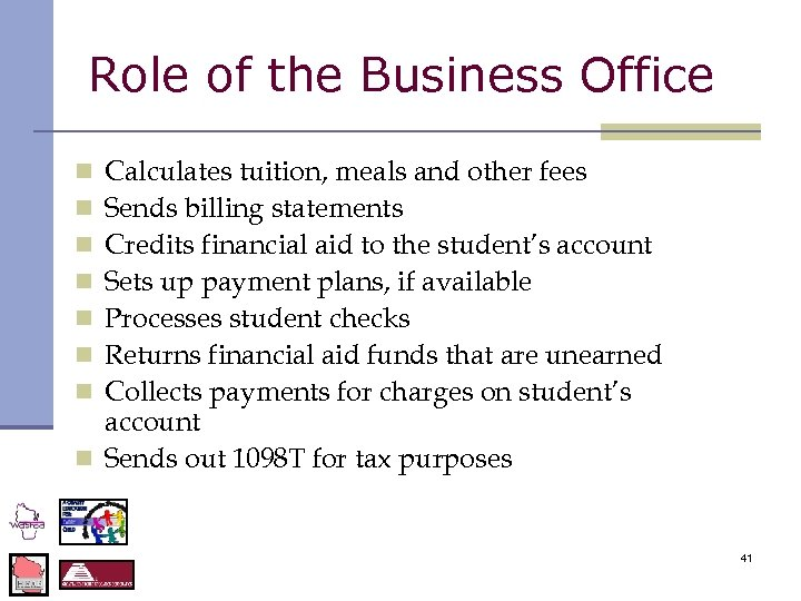 Role of the Business Office Calculates tuition, meals and other fees Sends billing statements