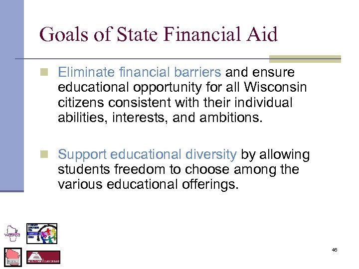 Goals of State Financial Aid n Eliminate financial barriers and ensure educational opportunity for